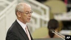 FILE - The President of the European Council Herman Van Rompuy.