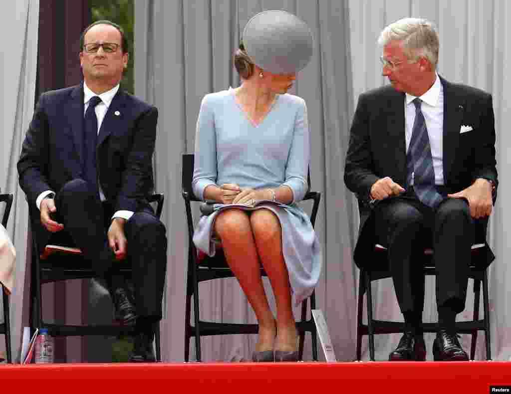벨기에 리에주 코인테 동맹국 기념관에서 열린 세계1차대전 개전 100주년 기념식에 프랑수아 올랑드 프랑스 대통령과 벨기에의 마틸드 왕비, 필립 국왕(왼쪽부터)이 참석했다.
