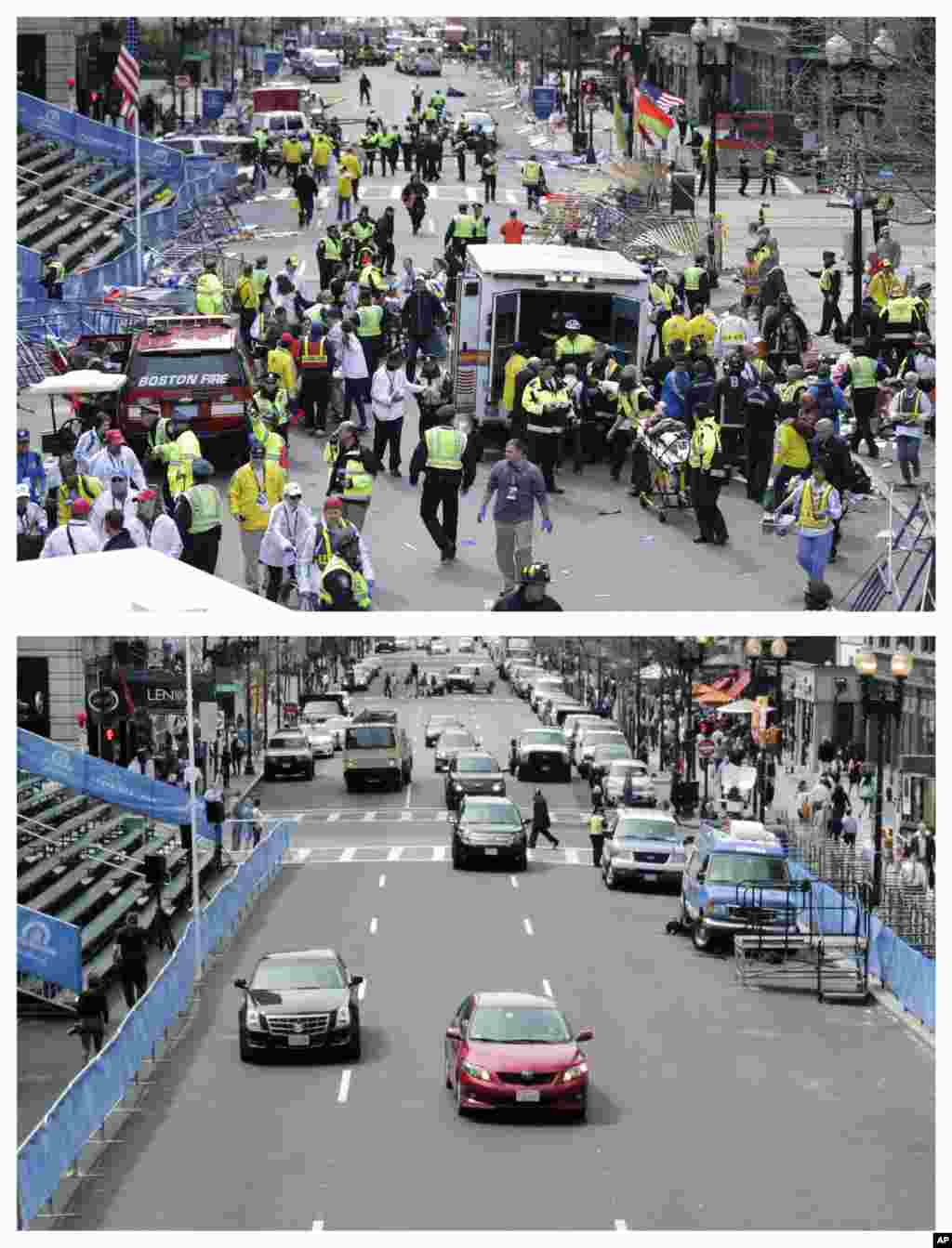 These photos were taken April 15, 2013 and April 14, 2014. The 2013 photo shows medical workers aiding injured people on Boylston Street near the finish line of the 2013 Boston Marathon following two bomb explosions, and nearly a year later traffic flowing on the same street.