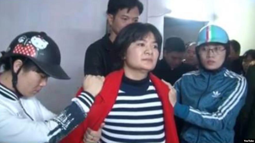 Hình ảnh bà Trần Thị Nga bị bắt giữ hôm 21/1.