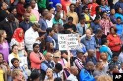 FILE - A peace march against xenophobia takes place in Durban, South Africa, April 16, 2015.