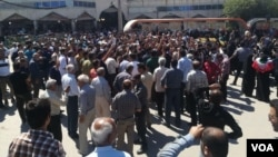 Hundreds of residents of Kazerun, Iran, joined a protest on May 16, 2018 to denounce a proposal by the southern city's lawmaker to turn some of its outlying districts into a new city.