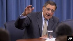 Defense Secretary Leon Panetta talks during a news conference at the Pentagon, June 29, 2012.