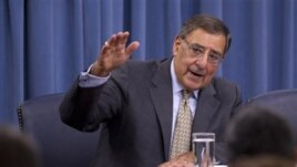 U.S. Defense Secretary Leon Panetta talks during a news conference at the Pentagon, June 29, 2012.