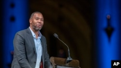 Author Ta-Nehisi Coates speaks during the Celebration of the Life of Toni Morrison at the Cathedral of St. John the Divine in New York in 2019. (AP Photo/Mary Altaffer, File)