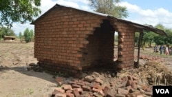 A house damaged by floods in Phalombe district. (Lameck Masina for VOA News)