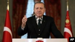 Turkey's President Recep Tayyip Erdogan launches a scathing attack, Oct. 22, 2017, on its Western allies, warning Ankara would respect its strategic alliances with its partners as long as those countries respected the law.