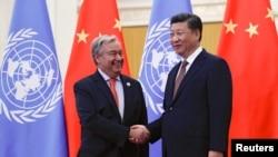 ကုလအတြင္းေရးမႉးခ်ဳပ္ Antonio Guterres နဲ႔ တ႐ုတ္သမၼတ Xi Jinping