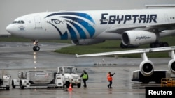 The EgyptAir plane scheduled to make the following flight from Paris to Cairo, after flight MS804 disappeared from radar, taxies on the tarmac at Charles de Gaulle airport in Paris, France, May 19, 2016.
