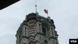 台湾总统府塔楼顶部(美国之音申华 拍摄)