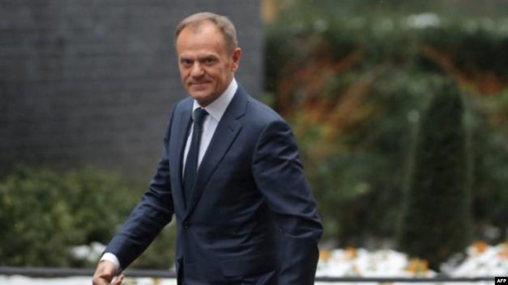 Ông Donald Tusk, Chủ tịch Hội đồng Châu Âu, ảnh chụp tại London ngày 1/3/2018.