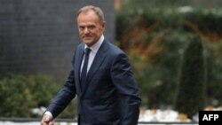 FILE - Donald Tusk, president of the European Council, is seen in London, March 1, 2018.