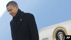 US President Barack Obama during his arrival at Osan Air Base, in South Korea, Sunday, March, 25, 2012.
