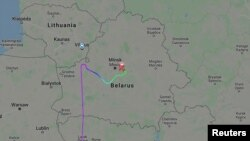 Траектория полета рейса 4978 Ryanair, летевшего из Афин в Вильнюс с активистом белорусской оппозиции и блоггером Романом Протасевичем на борту. Самолет вынужденно приземлился в Минске, Беларусь, 23 мая 2021 года