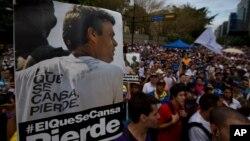 Poster del líder opositor Leopoldo López durante una protesta demandando su liberación.