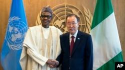 Shugaban Najeriya Muhammadu Buhari da Sakatare Janar na Majalisar Dinkin Duniya Ban Ki-moon