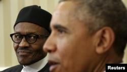 Rais wa Nigeria Muhammadu Buhari, na mwenzake wa Marekani Barack Obama kwenye picha hii ya Jumatatu, Washington.