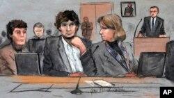 Ilustración de Dzhokhar Tsarnaev,centro, junto a su abogada Miriam Conrad, a la izquierda.
