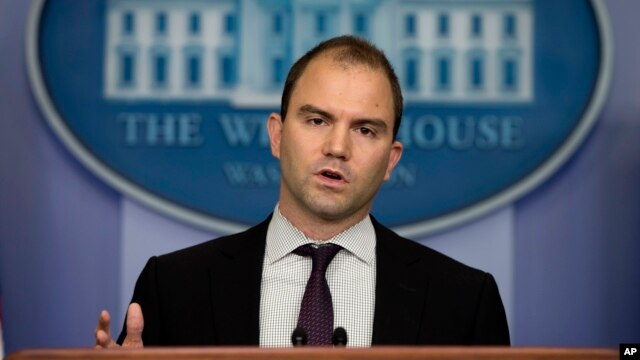 Deputy National Security adviser Ben Rhodes gestures as he speaks about President Barack Obama's decision to arm Syrian rebels, during the daily press briefing at the White House in Washington, June 14, 2013.