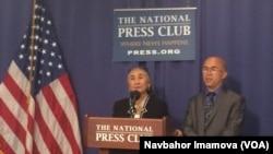 維吾爾族人權活動人士熱比婭8月27日在美國全國記者俱樂部舉行的發佈會上