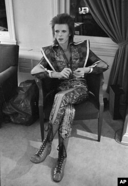 FILE - This is a Dec. 1, 1972 file photo of David Bowie in his Ziggy Stardust period pictured in Philadelphia, Pennsylvania. (AP Photo, Brian Horton, File)