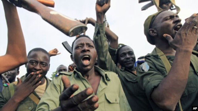 Soldiers from Sudan's army celebrate after gaining control of the area, at the Blue Nile state capital al-Damazin, September 5, 2011.