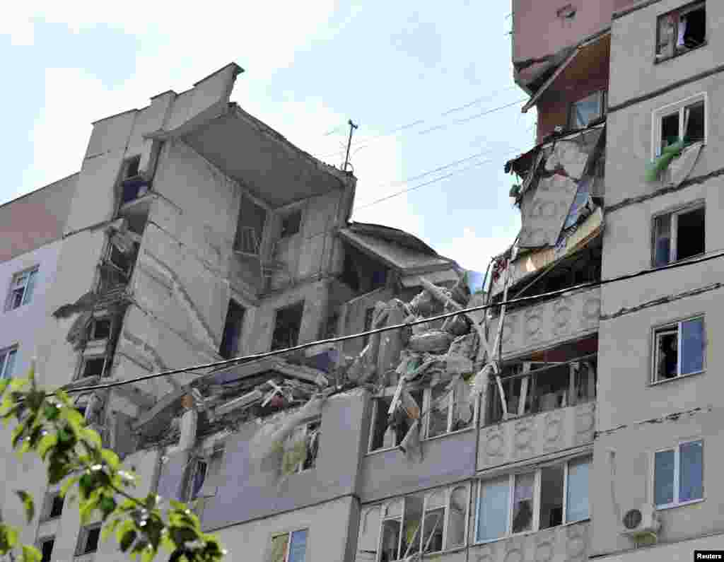 This multistory apartment block was destroyed by an explosion, in Mykolaiv, southern Ukraine, May 12, 2014.