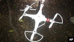 This handout photo provided by the US Secret Service shows the drone that crashed onto the White House grounds in Washington, Jan. 26, 2015.