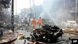 泰國連環炸彈爆炸現場。