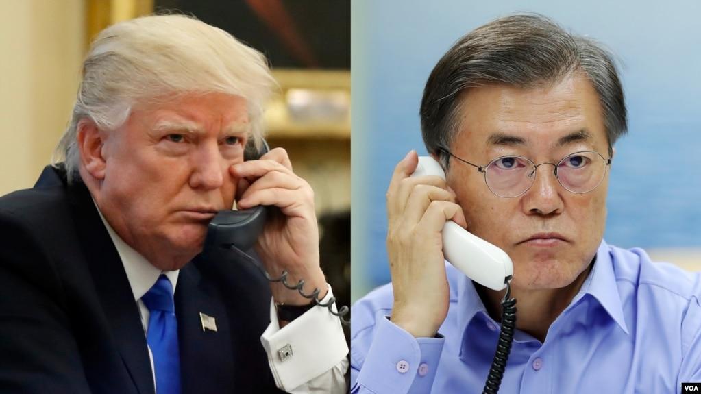 Image result for 트럼프 문재인 통화