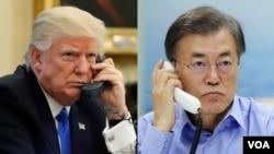 美国总统川普(左)与韩国总统文在寅
