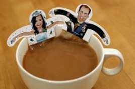 Souvenir teabags with depictions of Britain's Prince William and Kate Middleton are seen in London.
