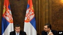 Premijer Srbije Ivica Dačić i prvi potpredsednik vlade Srbije Aleksandar Vučić (arhivski snimak)