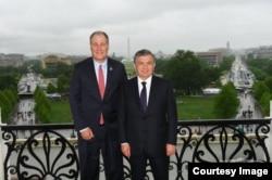 Congressman Trent Kelly with Uzbek President Shavkat Mirziyoyev, U.S. Congress, Washington, May 17, 2018