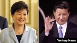 박근혜 한국 대통령(왼쪽)과 시진핑 중국 국가주석이 오는 27일 베이징에서 한-중 정상회담을 가진다.
