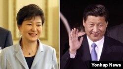박근혜 한국 대통령(왼쪽)과 시진핑 중국 국가주석이 오는 27일 베이징에서 한-중 정상회담을 가진다. 사진은 양국 정상의 최근 모습.