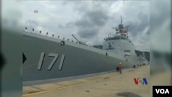 """參加""""環太平洋-2014""""軍演的中國海軍海口號導彈驅逐艦。(視頻截圖)"""