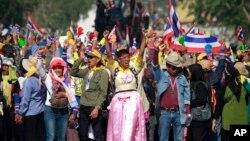 태국 수도 방콕에서 24일에도 반정부 시위가 계속됐다.