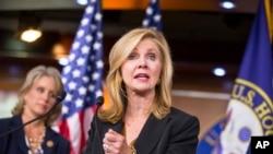 Anggota DPR Partai Republik, Marsha Blackburn, mengumumkan American Health Care Reform Act, pengganti Affordable Care Act atau Obamacare (AP Photo/J. Scott Applewhite).