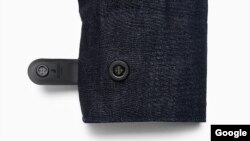 "The interactive jacket includes a small ""smart tag"" that attaches to the end of the sleeve to connect via Bluetooth to other devices."