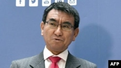 Le ministre des Affaires étrangères japonais, Taro Kono, le 15 frévier 2018, à Vienne