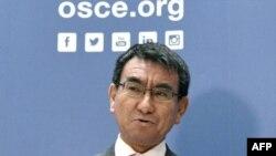 Le ministre des Affaires étrangères japonais, Taro Kono, à Vienne, le 15 frévier 2018,