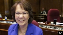 North Dakota Republican Sen. Margaret is the primary sponsor of a bill that the North Dakota Legislature passed Friday that would ban abortion by defining human life as beginning at conception, at the state Capitol in Bismarck, Mar. 22, 2013.