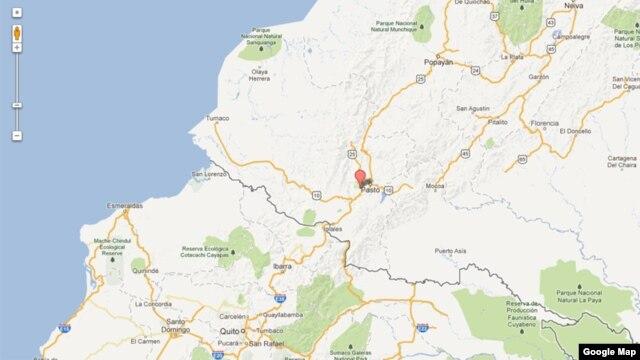 Este mapa de Google identifica el sitio del epicentro del sismo, al oeste de Pasto, cerca de la frontera colombiana con Ecuador.