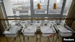 中国上海一家医院的新生儿房间。(资料照片)