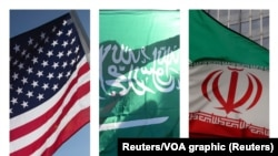 The flags of US, Saudi Arabia and Iran