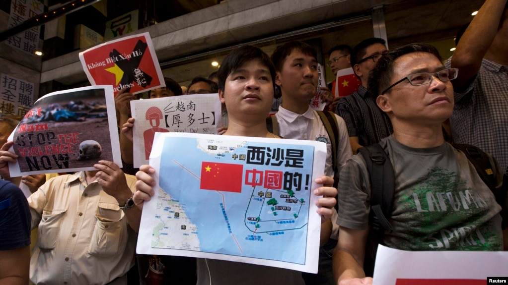 2014年5月19日,香港示威者支持中國領土主張,譴責越南反華。