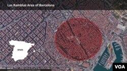 巴塞羅那市中心的旅遊區蘭布拉大道位置