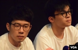 「香港眾志」正、副主席羅冠聰(左)、黎汶洛。(美國之音湯惠芸攝)