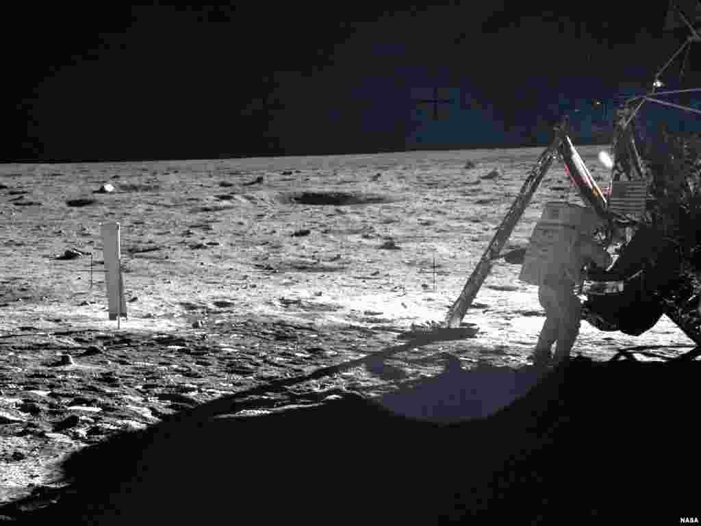 Apollo 11 astronauts trained on Earth to take individual photographs in succession in order to create a series of frames that could be assembled into panoramic images. This frame from Buzz Aldrin's panorama of the Apollo 11 landing site is the only good p